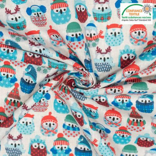 Coton écru motif hiboux de neige bleu glacier Oeko-tex