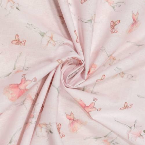 Coton bio rose pâle motif danseuse Oeko-tex