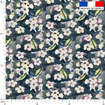 Fleur abstraite aquarelle écrue - Fond bleu foncé