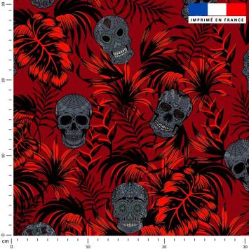 Jungle tête de mort grise - Fond rouge