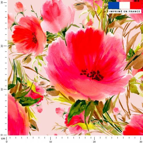 Coquelicot effet peinture - Fond rose