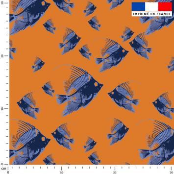 Poisson bleu - Fond orange