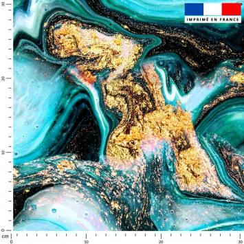 Magma bleu et poudre d'or - Fond noir
