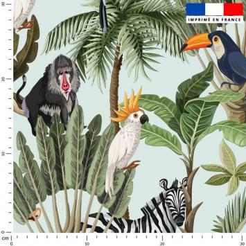 Jungle et animaux - Fond vert d'eau