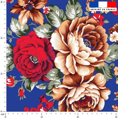 Bouquet de fleurs rouge et beige - Fond bleu roi