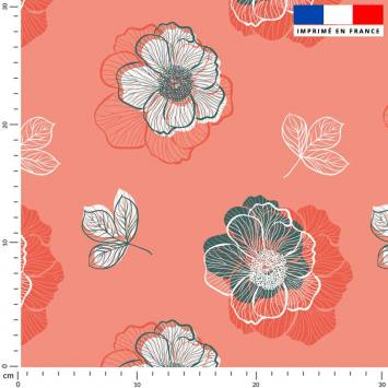 Multi-fleurs - Fond corail