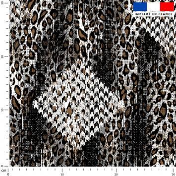 Pied de poule écru - Fond léopard marron