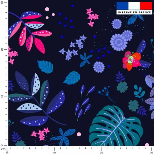 Mur floral feuilles bleues et roses - Fond noir