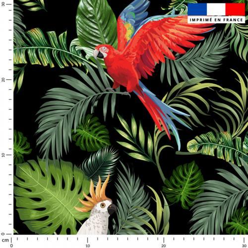Feuille tropicale et perroquet - Fond noir