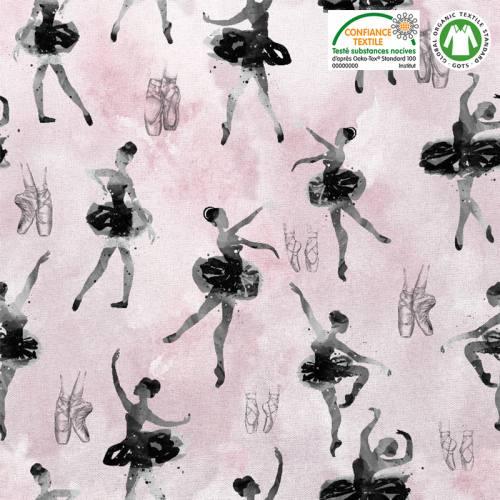 Coton bio rose motif danseuse étoile Oeko-tex