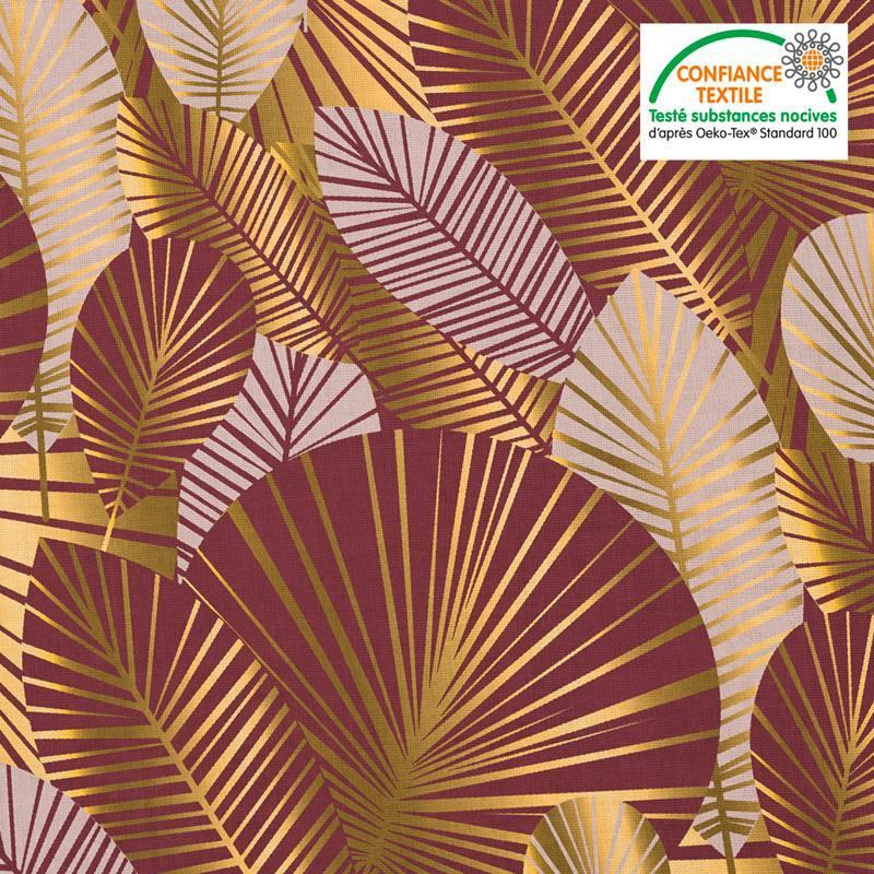 Coton bordeaux motif feuilles art déco roses et or Oeko-tex