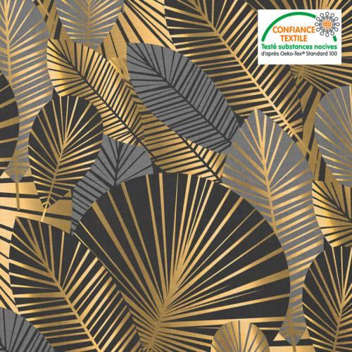 Coton noir motif feuilles art déco grises et or Oeko-tex