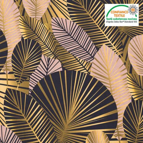 Coton noir motif feuilles art déco roses et or Oeko-tex