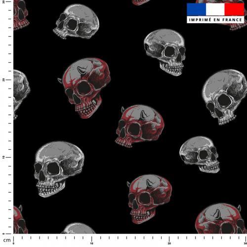 Crâne gris et rouge - Fond noir