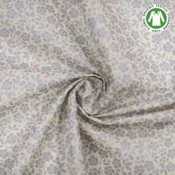 Coton bio naturel imprimé fleurs argentées