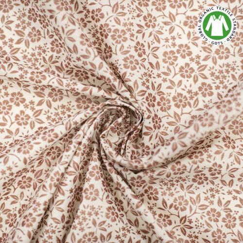 Coton bio naturel imprimé fleurs cuivrées