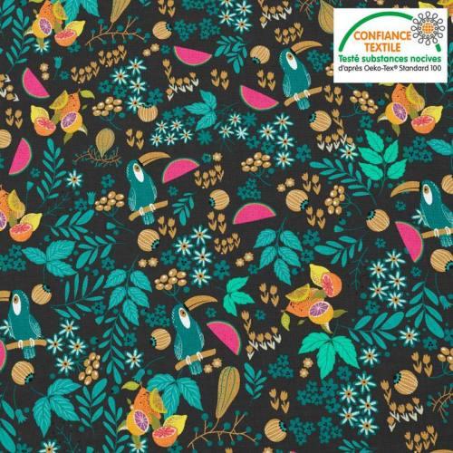 Coton noir motif toucan et fruit bleu canard Oeko-tex