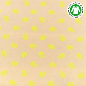 Coton bio naturel motif tête de mort jaune fluo