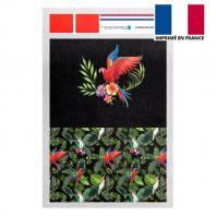 Kit pochette noir motif feuille tropicale et perroquet