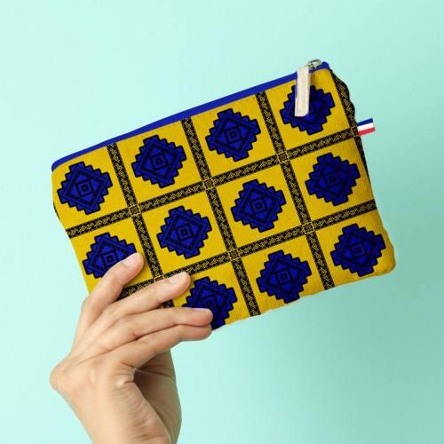 Kit pochette jaune motif tableau wax géométrique bleu