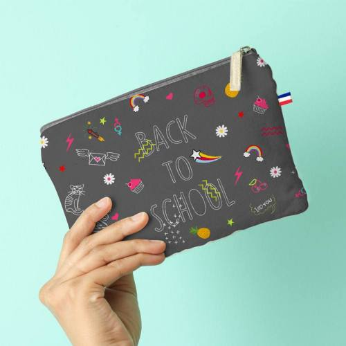 Kit pochette gris motif back to school rose