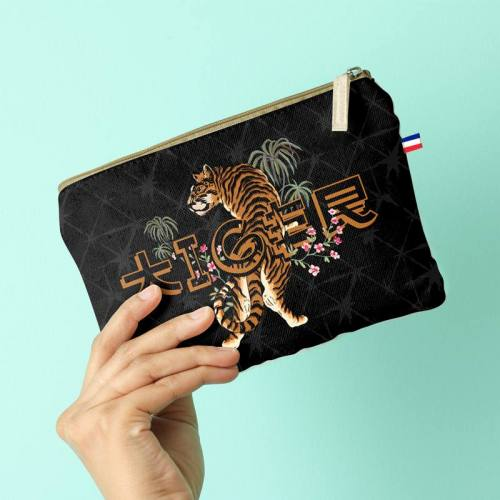 Kit pochette noir motif tiger asiatique