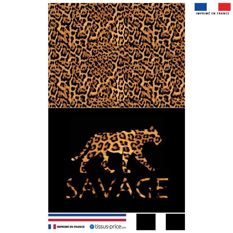 Kit pochette noire motif léopard