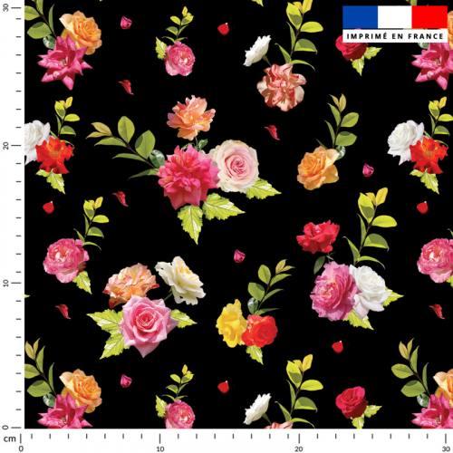 Bouquet de roses - Fond noir
