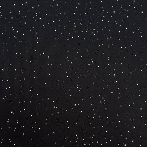 Tissu rayonne noir pois argenté