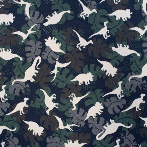 Jersey bleu marine imprimé dinosaure Oeko-tex