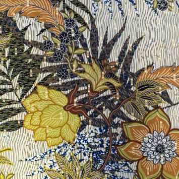 Crêpe georgette verte motif fleur et dorures