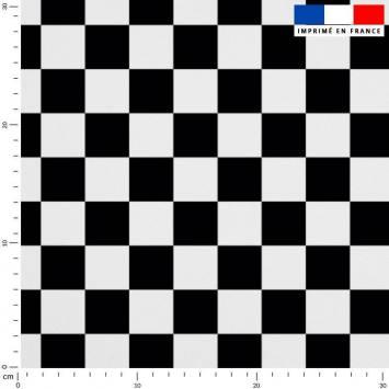 Tissu caban twill motif damier noir et blanc