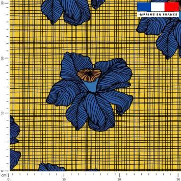 Tissu caban twill jaune motif wax fleur bleue