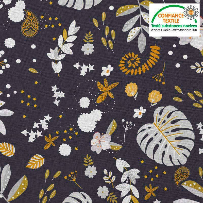 Coton bleu nuit motif mur floral ocre et blanc