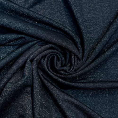 Tissu viscose brillant bleu marine
