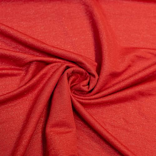 Tissu viscose brillant rouge