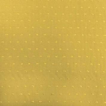 Tissu viscose plumetis jaune