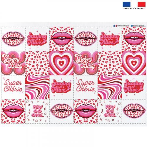 Coupon éponge pour lingettes démaquillantes motif disco rose - Création Lou Picault