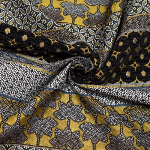 Coupon 50x68 cm - Tissu jacquard or et argent et velours noir motif géométrique fleuri Oeko-tex