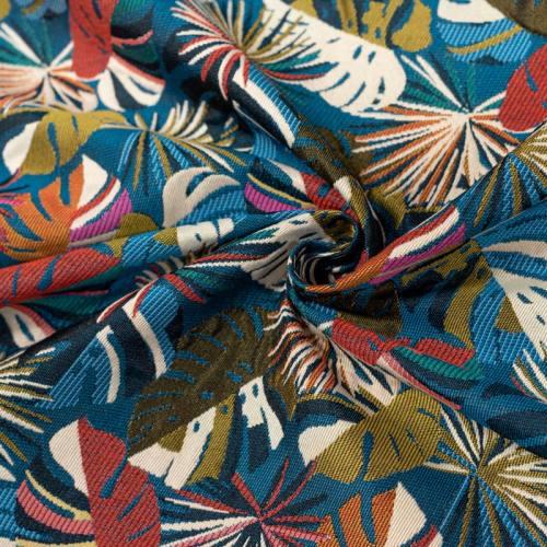 Coupon 50x68 cm - Jacquard bleu motif feuilles de monstera rouges Oeko-tex