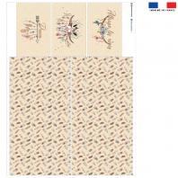 Coupon velours d'habillement pour vide-poches motif boho