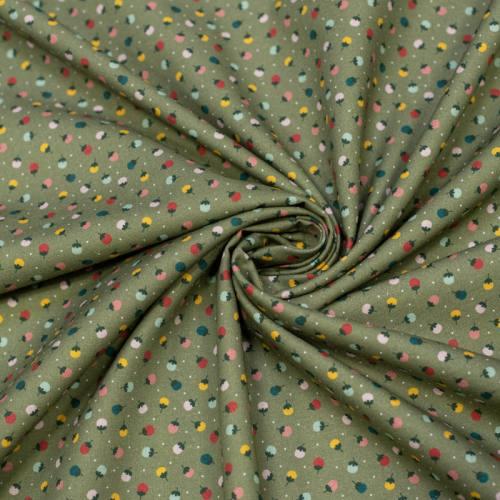 Coton bio vert à pois blanc motif boutons de fleurs Oeko-tex