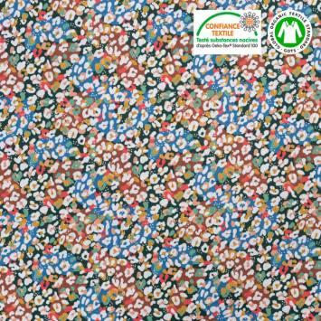 Coton bio imprimé tacheté léopard multicolore Oeko-tex