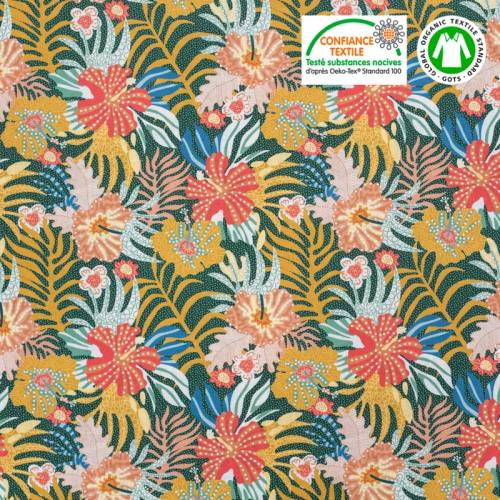 Coton bio vert à pois motif fleur tropicale Oeko-tex