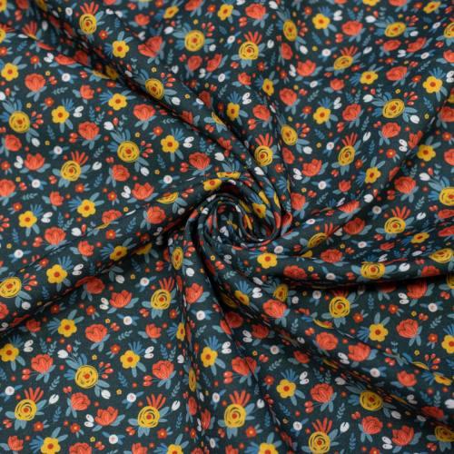 Coton bio bleu foncé motif fleurs des près jaunes et rouges Oeko-tex