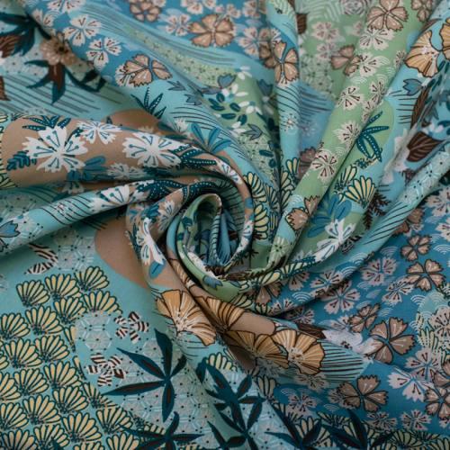 Tissu viscose bleu turquoise motif inspiration japonaise ayo Oeko-tex