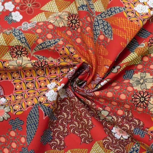 Tissu viscose rouge motif japonais yin Oeko-tex