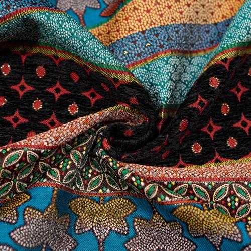 Coupon 50x68 cm - Tissu jacquard rouge et velours noir motif géométrique fleuri Oeko-tex