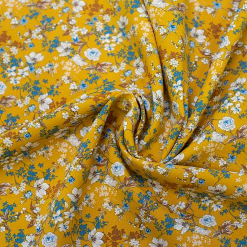 Tissu viscose safran motif fleurs blanches et bleues anaïs Oeko-tex