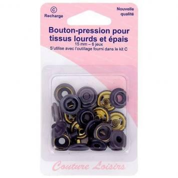 Boutons pression pour tissus lourds et épais - Noir x6